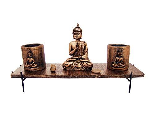 Genki-Bonsai Shiva Dekotisch mit 2 Windlichtern aus Holz in Gold, 31x10x15 cm, Asiatische Deko für Ihr Wohnzimmer