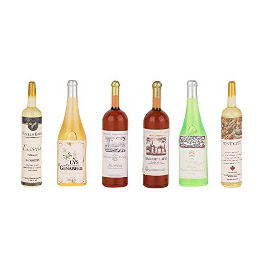CHICIRIS Botella de Vino de casa de muñecas, Modelo de Botellas de Vino de casa de muñecas de plástico 1:12 para Juegos de rol para Adultos y niños(Mini Comida y Bebida Modelo 6 Botellas de Vino)
