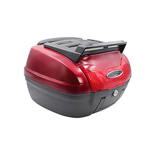 LUKUCEA Top Case Moto Universal baúl de Moto Scooter Maleta 40 L Motocicleta con Llaves y Accesorios Topcase,Sunshine Red