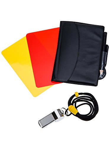 Sport Schiedsrichter Karten Set Rote Karte Gelbe Karte mit Tasche und Metall Schiedsrichter Pfeife Trainer Pfeife für Fußball