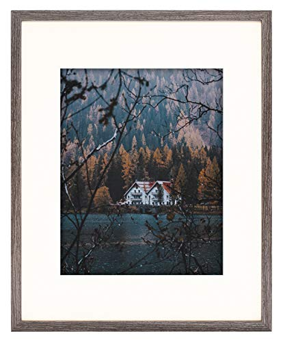 Frametory, Frame with Ivory Mat for Photo - Smooth Wood Grain Finish - Sawtooth Hangers, Real Glass - Landscape/Portrait, Wall Display (Grey, 16x20 Frame for 11x14 Photo)