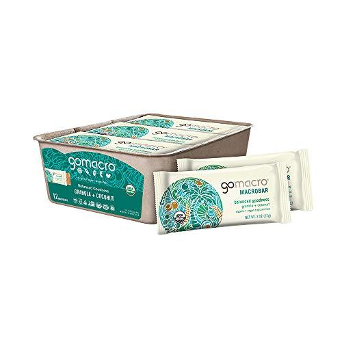 GoMacro MacroBar Organic Vegan Snack Bars - Granola + Coconut,12 Count (Pack of 1)
