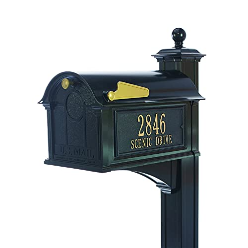Whitehall Custom Balmoral Extra Large Mailbox and Deluxe Side Mount Post Package - Sand Cast Aluminum - Black Personalized in Goldtone