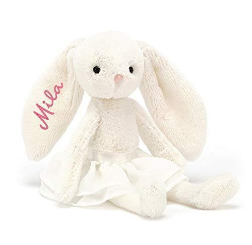 Stofftier Hase mit Namen Kuscheltier Teddybär Personalisiert Geburt Taufe Geschenk, bestickt Namenplüschtier Beige
