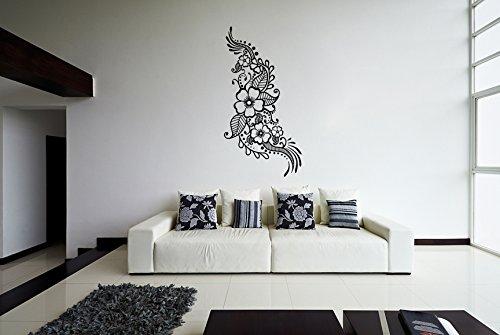 (83 x 160 cm), Vinyl, mit Blumen Muster Henna/Wandtattoo, Design