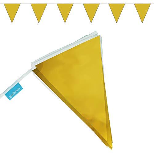 Goodymax® Wimpelkette 10 m Gold glänzend metallic - viele weitere Farben und Farbkombinationen zur Auswahl