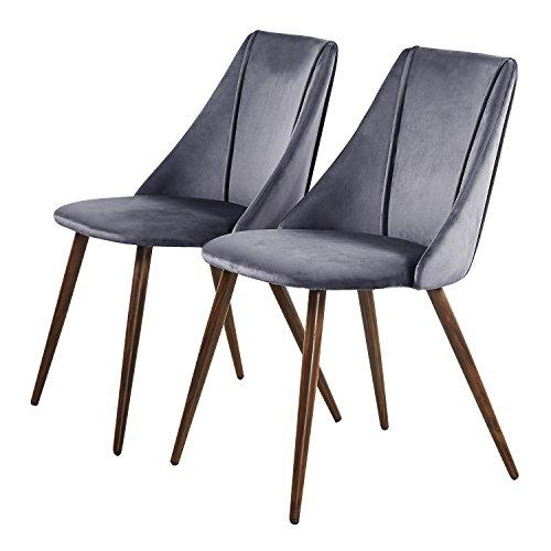 EGGREE 2er Set Stühle Samt Esszimmerstuhl Küchenstuhl Retro Polsterstuhl mit Weich Kissen Sitz und Metall Beine, Grau