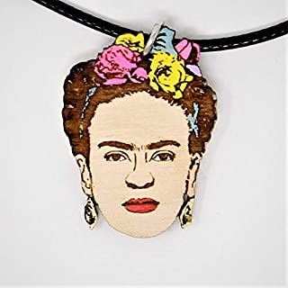 Frida Flower Crown Choker Necklace | Boho Hand-Made Artist Natural Wood Pendant Jewelry | Valentine's Gifts for Her