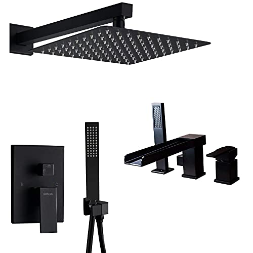 Artbath Black Waterfall Tub Faucet and Shower System With Handheld Shower Set for Bathroom
