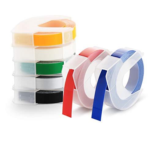Agoer 3D Prägeband 9mm x 3m, Langlebige Kunststoff Prägebändern kompatibel für Prägegeräte Dymo Junior und Omega Etikettenprägegerät, Weiß auf Schwarz/Rot/Transparent/Silber/Blau/Grün/Gelb (7 Rollen)