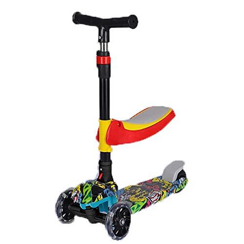Z-SEAT Kids Scooter Dreirad DREI-in-Eins-Pedal Yo Auto Lichtrad LED-Leuchträder Faltbares Design Verstellbare Griffe Lean to Steight Height Verstellbar