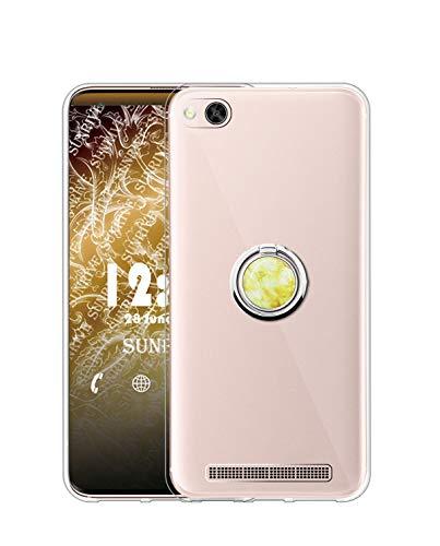 Sunrive Kompatibel mit Xiaomi Mi 4c Hülle Silikon, Transparent Handyhülle 360°drehbarer Ständer Ring Fingerhalter Fingerhalterung Schutzhülle Etui Hülle(Goldener Marmor) MEHRWEG