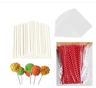 SSPECOTNR 300 piezas Lollipop Cake Pop bolsa de regalo juego con 100 bolsas de paquetería 100 unidades de palillo de papel 100 unids Red Metallic Twist Tie Wrapper accesorios para hacer piruletas