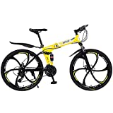 ZHTY Bicicleta de montaña de 26 Pulgadas y 27 velocidades para Adultos, Cuadro de suspensión Completa de Aluminio Ligero, Horquilla de suspensión, Freno de Disco, Amarillo, Bicicleta de montaña D