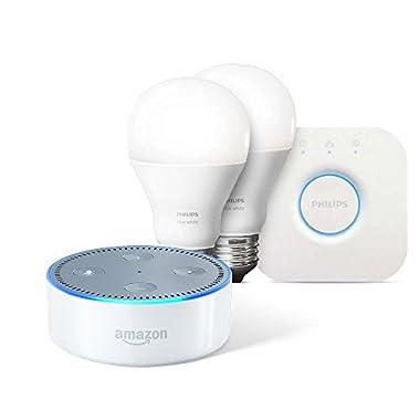 Echo Dot (2nd Generation) - White + Philips Hue White Starter Kit