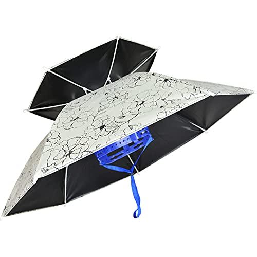 Sombrero de Paraguas Con Anillo de Cabeza Ajustable de Goma, Sombrero de Paraguas Divertido Gorro Plegable Para Adultos y Niños Protección UV, Sombrero de Paraguas de Pesca al Aire Libre ( Color : C )