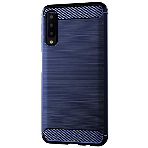 Hülle kompatibel Samsung Galaxy A7 2018, Ultra Dünn Stoßfest Silikon Case Anti-Kratzer Handyhülle Premium Carbon Fibre TPU Tasche Schutzhülle kompatibel Samsung A7 2018 (Blau, Galaxy A7 2018)
