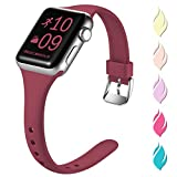 Henva Fashionable Band Compatible with iWatch 40mm 38mm, Waterproof Soft Band Compatible for Apple Watch SE Series 6/5/4/3/2/1, Wine Red, S/M