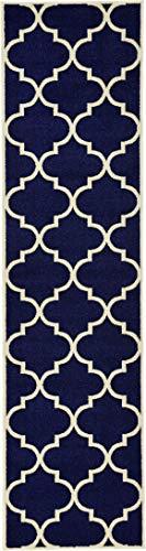 Unique Loom Trellis Collection Moroccan Lattice Navy Blue Runner Rug (3' x 10')