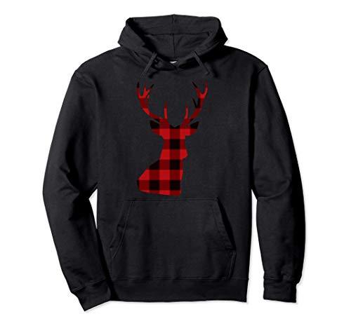 Camicie scozzesi natalizie renne cervi bufalo Felpa con Cappuccio