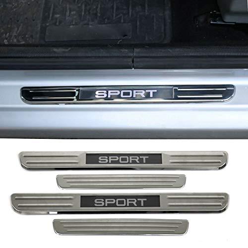 OMAC Acessórios interiores automotivos iluminados placa esportiva cromada peitoril da porta | Protetores de porta de carro | Protetor de passo de LED esportivo aço 4 peças. Serve para Jeep Renegade