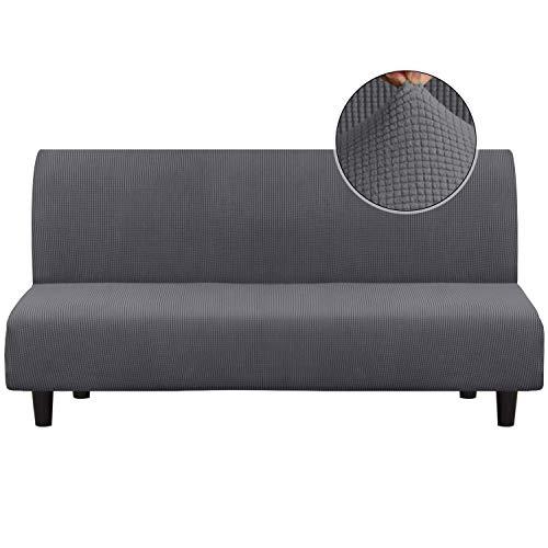 Funda para sofá con funda elástica de licra de color turquesa, elegante funda para sofá de jacquard y elastano, sin tirantes, Gris, Futon
