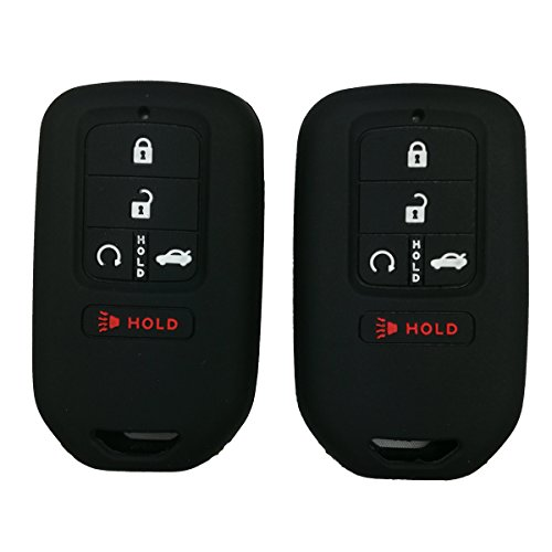 Coolbestda 2Pcs Silicone Full Protective Key Fob Remote Cover Case Skin Jacket for A2C81642600 2015 2016 2017 Honda Civic Accord Pilot CR-V 5 Buttons Smart Key Black
