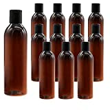 12 Pcs 8oz Amber Empty Plastic Squeeze Bottles,BPA-Free Refillable Containers with Disc Top Flip Cap for Lotions,Shampoo,Liquid Body Soap and Creams