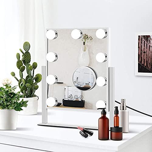 FYHpet Espejo de vanidad con Luces, Espejo Maquillaje Control táctil Inteligente 9 Bombillas y 3 Modos iluminación Color, magnificación extraíble 10x, Personal diseño Giratorio 360 °, Regalo Mujer