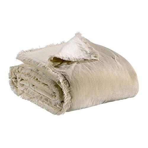 Vivaraise - Jeté de lit et de canapé Fara – Couverture d'appoint, Couvre-lit, Couette légère – 100% Velours de Coton – Garnissage Chaud – Finition à Franges