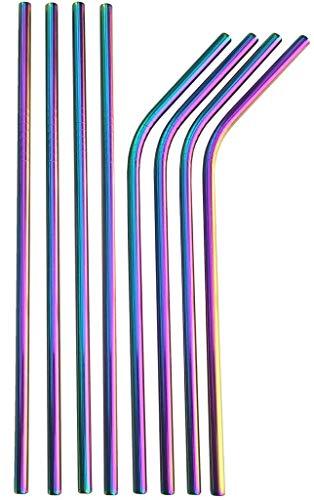 Rainbow Straws Edelstahl Strohhalme bunt, Wiederverwendbare Metall Strohhalme, Kurze und Lange Regenbogen Metallstrohhalme, Edelstahlstrohhalm.