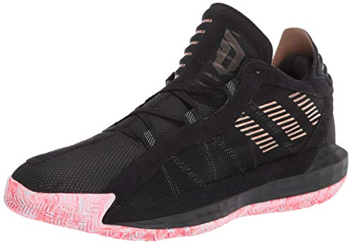 adidas Dame 6 Basketball Shoe, Black/Signal Pink/White, 10.5