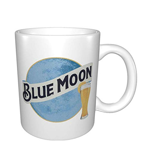 Jopath Taza de porcelana con diseño de luna azul para café, café, té, zumo de cacao, blanco, tamaño único