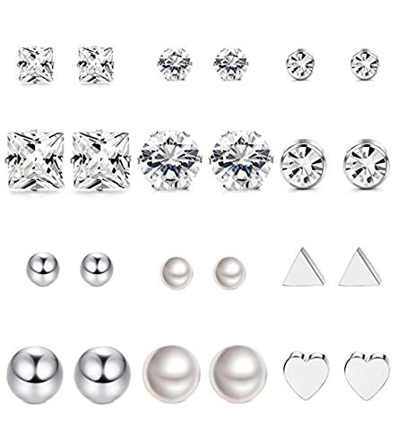 Milacolato 12 Pairs Stainless Steel Earrings Stud Earrings Set for Womens Girls Round Clear CZ Stud