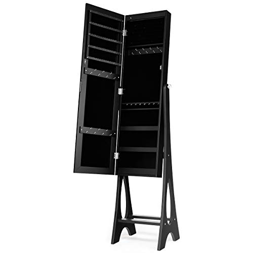 Giantex 12 LED Jewelry Armoire Cabinet with Frameless Full-length Mirror, Standing Jewelry Cabinet with 16 Lipstick Holders, Large Storage Capacity, 3 Angles Adjustable (Black)