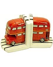 CAPRILO Figura Decorativa Infantil Sujeta Libros Autobús Londres Esculturas Resina 2 x (12 x 12 x 14 cm.)