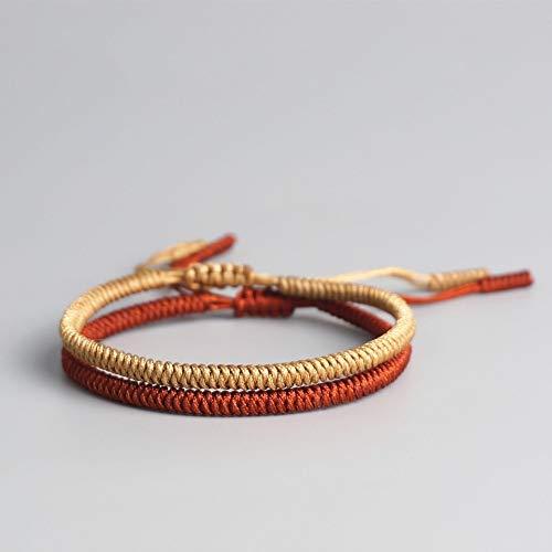 Geweven armband, nationale stijl 2-delige set Tibetaanse boeddhistische geluksgeweven Tibetaanse armbanden voor vrouwen mannen handgemaakte knopen Festival Valentijnsdag, Moederdag, verjaardagsfeest beste cadeau voor vrienden