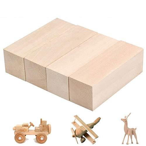 Lindenholz Schnitzen Schnitzholz Natürliches Holzblöcke Schnitzholz für Kunst zum Schnitzen Holzblöcke Unbehandelt Schnitzblock Schnitzrohlinge für Kinder Erwachsene Handwerk DIY Schnitzen 4 Stück