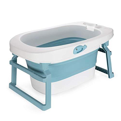 Fascol 3 in 1 Babybadewanne, Faltbare Badewanne mit Baby-Badesitz und Ablaufstöpsel, Kinderbadewanne Länge 86cm, 0-10 Alter (Blau)