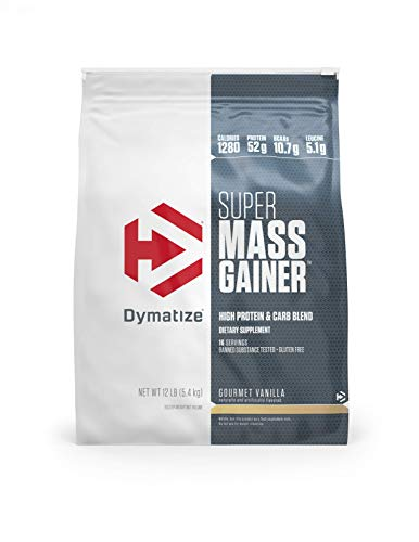 Dymatize Super Mass Gainer Protein Powder, 1280 Calories & 52g Protein, Gain Strength & Size Quickly, 10.7g BCAAs, Mixes Easily, Tastes Delicious, Gourmet Vanilla, 12 lbs