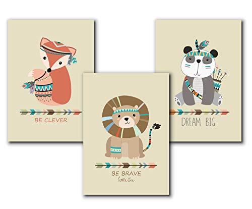 3er Set Kinderbilder Kinderzimmer für Mädchen und Jungen, A4 Kunstdruck Tiere, Bilder Babyzimmer Deko, Kinderposter, Indianer Tierbilder | ohne Rahmen