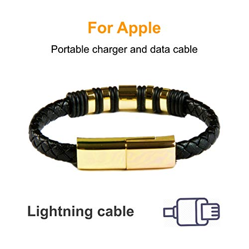 Xcharge.me USB Charging Bracelet for iPhone Fashion Braided Leather Wrist Band Data Sync Cord (Black, Large) 24K Gold Plated Connection (Gold, 7.87in)