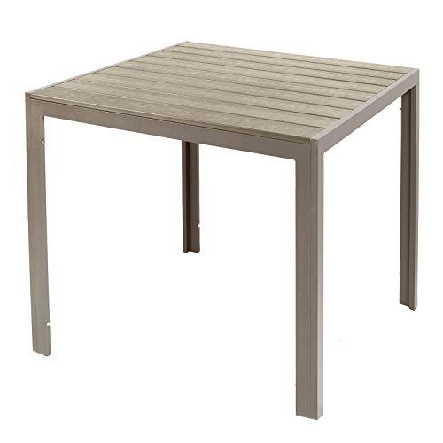 FineHome Gartentisch aus Aluminium champagnerfarben Esstisch Gartenmöbel Tisch Polywood Holzimitat wetterfest 90x90x74cm