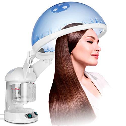 NSWD Vapor Portátil Ozono Vaporizador para Terapia Capilar Y Vaporizador Facial, con Accesorio de Capó, Diseño de Mesa, 3 En 1 Steamer