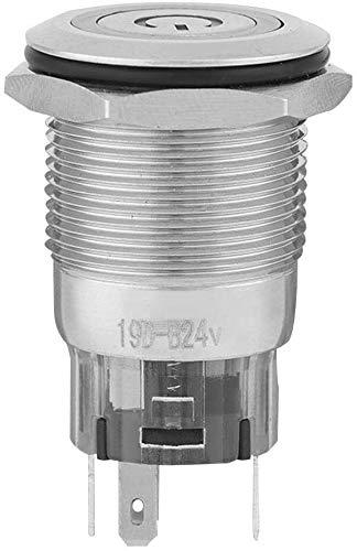 YINCHIE Mukuai54 40pcs 24V LED LED 5-Pin IP65 Impermeable 19mm Metal Auto Restablecer No + NC + C Interruptor de pulsador para el relé de Arranque electromagnético (Azul) Bricolaje