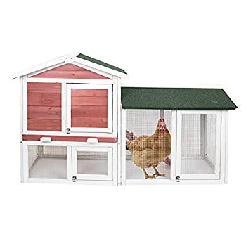 Greatest Pet Shop Deluxe Two Tier Wooden Chicken Coop Habitat Hutch Hen Nest for Backyards and Outdoors Red