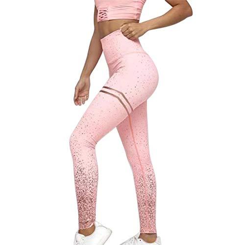 Shujin Damen Knöchellänge Sport Leggings Gold Print Motiv High Waist Fitness Hose Lang Yoga Jogginghose Workout Skinny Hose