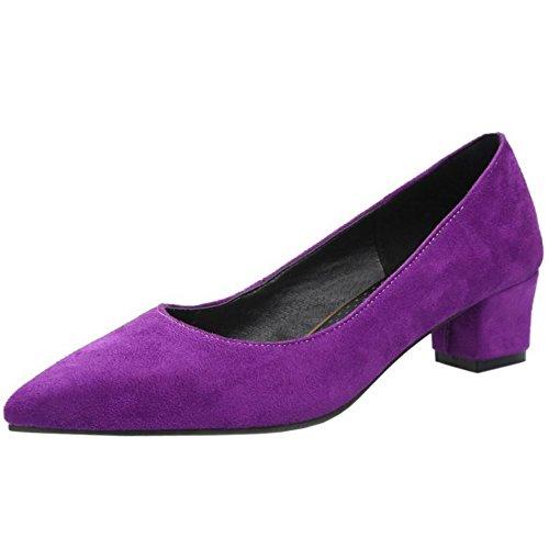 Lydee Damen Kleine Absatz Pumps Spitze Toe Slip On Suede Schuhe Purple Gr 42