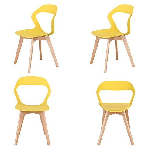 WV LeisureMaster - Set di 4 sedie da pranzo in materiale ABS, gambe in legno, sedie da ufficio per sala da pranzo, soggiorno, 4 pezzi, colore: giallo