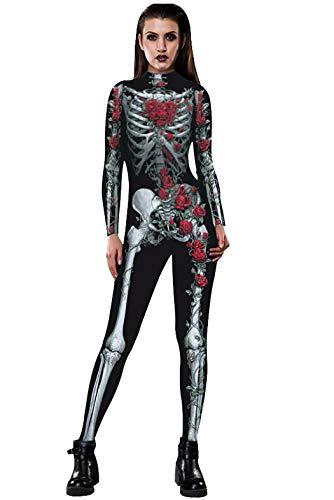 NooobTerrm Womens 3D Digital Skeleton Print Long Sleeve Skinny Overall Jumpsuit Halloween Bodysuit(S,Roses S)